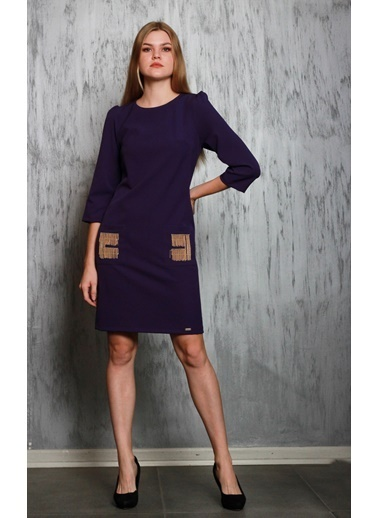 JEANNE D'ARC Truvakar Kol Ceplerinde Zincir Detaylı Elbise  Mor